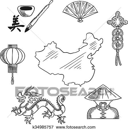 Clip Art Of Chinese National Symbols Around A Map K34985757 Search