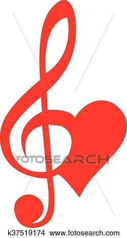 Clipart Corazón Con Clave De Sol K37519174 Buscar Clip Art