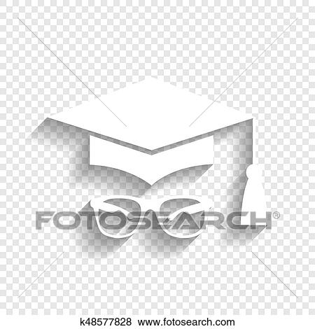 c22930161 Mortar Board or Graduation Cap with glass. Vector. White icon with soft  shadow on transparent background. Clip Art