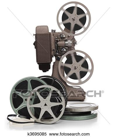 Stock Image Of Movie Film Reels And Projector On White K3695085