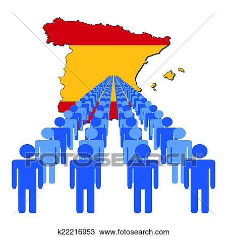 Spain Map Flag.People With Spain Map Flag Clipart