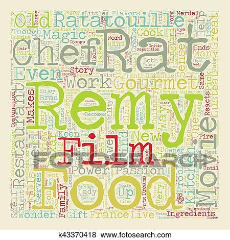 Ratatouille Movie Review text background wordcloud concept Clip Art