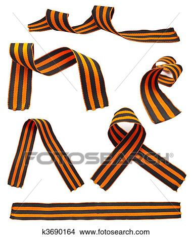 Drawings Of Set Of St George Ribbons Isolated On A White Background