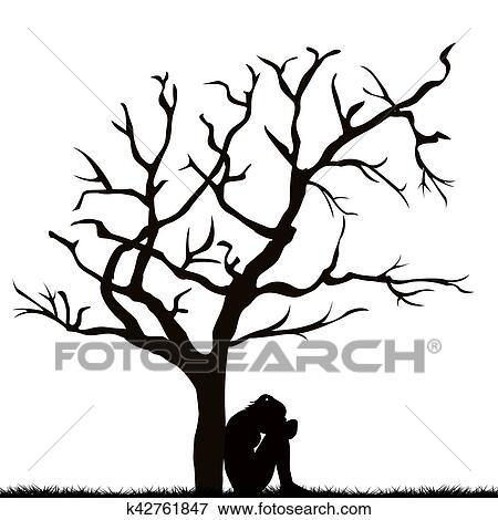 Banque D Illustrations Silhouette De A Femme Triste Sous A