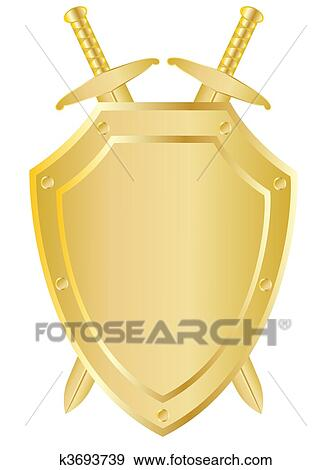 Clip Art of Two crossed swords behind the shield k3693739 - Search ...