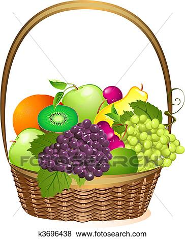 clip art of wicker basket with fruit k3696438 search clipart rh fotosearch com fruit basket clipart empty fruit basket clipart