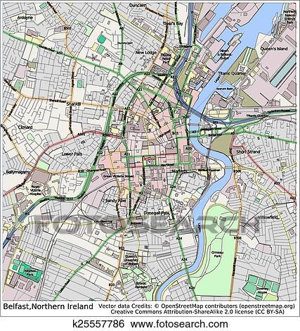 Clip Art of Belfast Northern Ireland city map k25557786 - Search ...