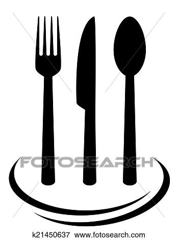 clip art of fork knife and spoon k21450637 search clipart rh fotosearch com spoon knife and fork clipart fork and spoon clipart