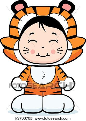 clipart of girl tiger k3700705 search clip art illustration rh fotosearch com Tiger Cub Scout Tiger Time