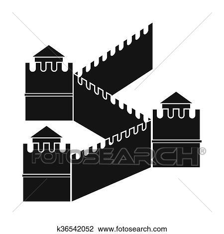 Clipart Grande Muraille Chine Icone Simple Style K36542052
