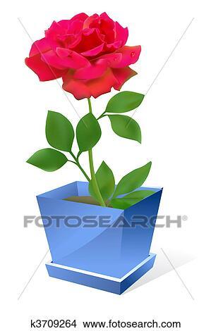 Dessins Rose Rouge Fleur Dans Pot K3709264 Recherche De Clip