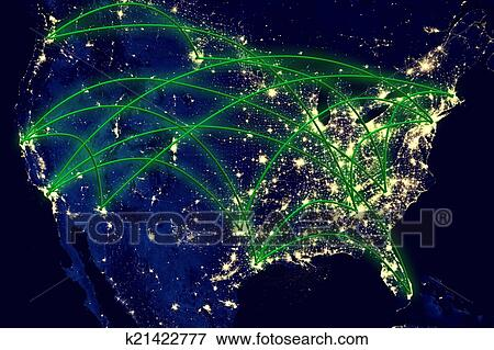 United States Network Map Stock Photo K21422777 Fotosearch - Us-map-night