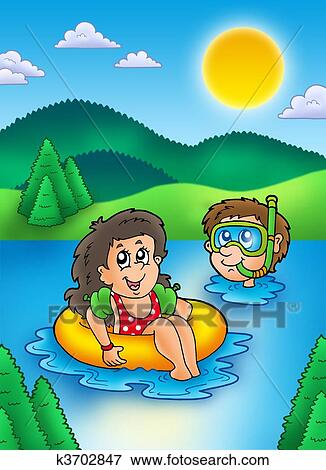Zwei, schwimmen, kinder, in, see Stock Illustration ...