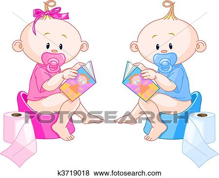 clip art of babies potty training k3719018 search clipart rh fotosearch com toilet training clipart Potty Clip Art