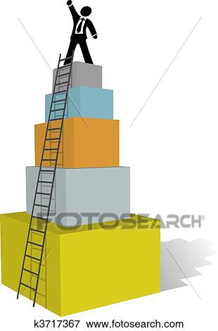 Clip Art Of Business Man Climb To Success Ladder Top