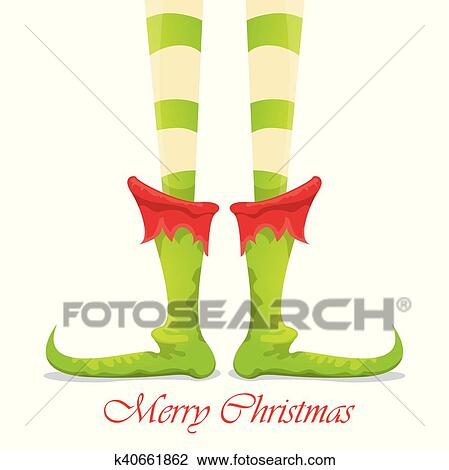Christmas Cartoon Elfs Legs On White Background Clipart K40661862 Fotosearch