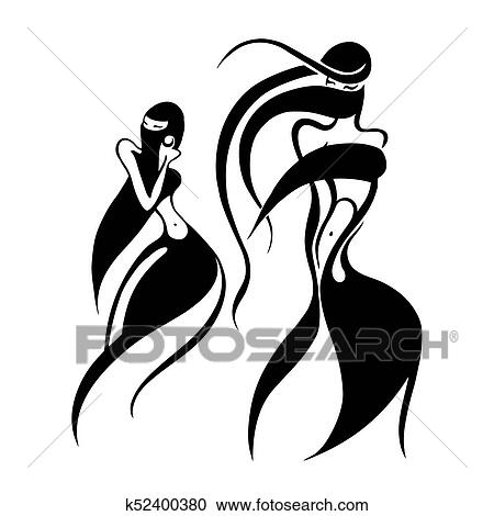 Clipart Of Eastern Woman Silhouette Hand Drawn Vector Illustration