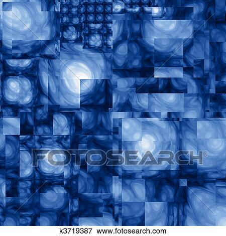 Estratto Cubista Fractal Sfondo Blu Archivio Illustrazioni