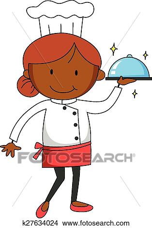 clipart of female chef k27634024 search clip art illustration rh fotosearch com female chef clipart images black female chef clipart