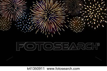 firework bursting sparkle background set colorful night fire beautiful explosion for celebration holiday christmas new year birthday