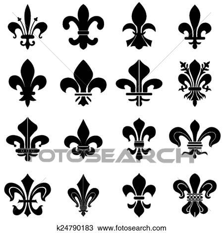 Clipart Of Fleur De Lys Symbols K24790183 Search Clip Art