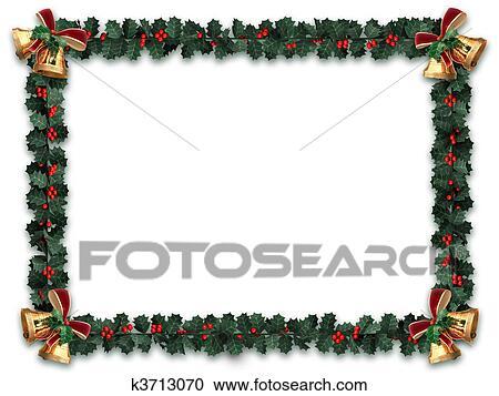 Stock Illustrations Of Holly Garland Border K3713070
