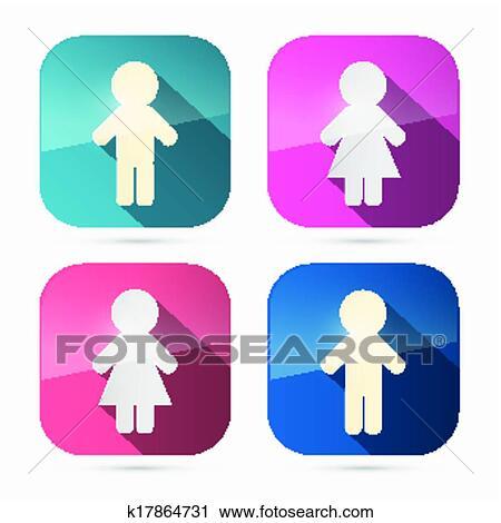 Clipart Hombre Y Mujer Iconos Símbolos En Redondeado