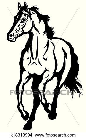 Clipart Laufende Pferd Schwarz Weiß K18313994 Suche Clip Art