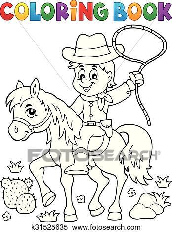 Clipart - libro colorear, vaquero, en, caballo, tema, 1 k31525635 ...
