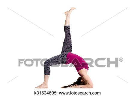 one legged wheel pose stock photography  k31534695