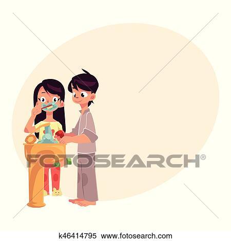 Piccolo ragazzo e ragazza in pigiama mani lavano denti