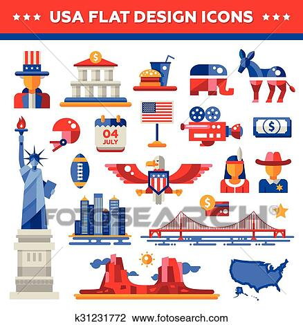 Clipart Of Set Of Flat Design Usa Travel Icons Infographics