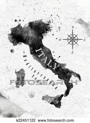 clipart tinte italien landkarte k22451122 suche clip art illustration wandbilder. Black Bedroom Furniture Sets. Home Design Ideas