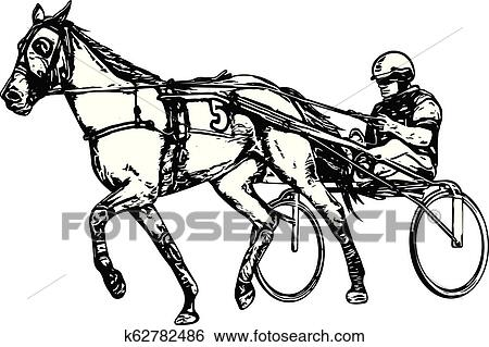 Trotter In Harness Drawing Clip Art