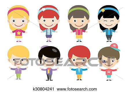 Clipart Of Vector Cute Cartoon Boys And Girls Together K30804241