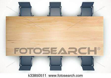 clipart vue dessus sur conf rence table bois et noir chaises k33850511 recherchez des. Black Bedroom Furniture Sets. Home Design Ideas