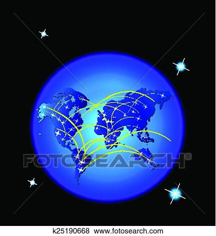 Clip art of world map trade web network connect k25190668 search world map trade web network connection background gumiabroncs Choice Image