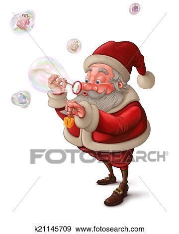 Sfondi Babbo Natale.Babbo Natale E Il Bolle Sapone Sfondo Bianco Archivio Illustrazioni K21145709 Fotosearch