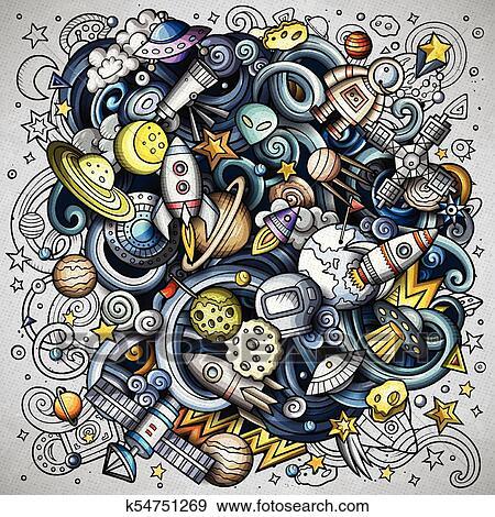 135b63eddfa Clip Art - Cartoon vector doodles Space illustration. Fotosearch