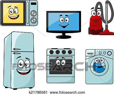 Clipart dessin anim appareils lectrom nagers ensemble k21786581 recherchez des clip arts - Appareil electromenager cuisine ...