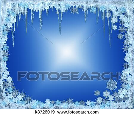 stock illustration of frosty christmas frame with snowflakes and