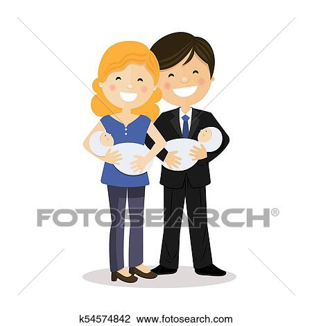 Clipart   Happy Parents With Twin Baby Boys. Fotosearch   Search Clip Art,  Illustration