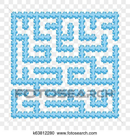 Icy blue square maze  Game for kids  Puzzle for children  Easy level of  difficulty  Labyrinth conundrum  Flat vector illustration isolated on
