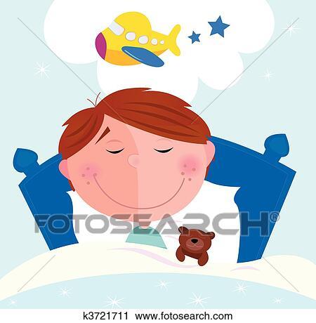 clipart petit gar on r ver avion k3721711 recherchez des clip arts des illustrations. Black Bedroom Furniture Sets. Home Design Ideas