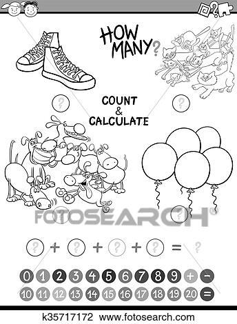 Math kids avtivity coloring book Clipart