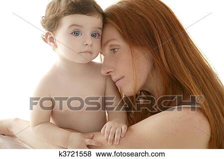 Immagini Nudo Bambino E Madre Ritratto Abbraccio Gioco
