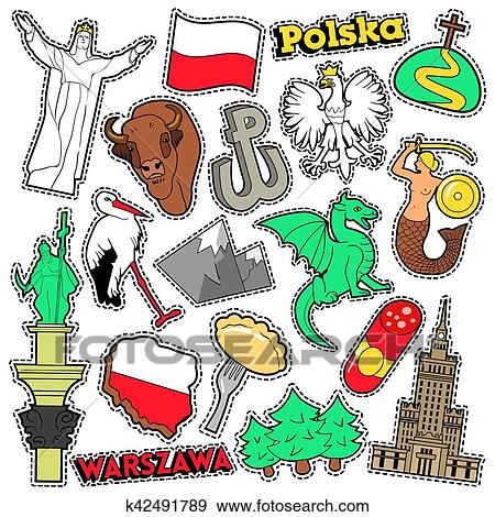 Poland Travel Scrapbook Stickers, Patches, Badges for ...