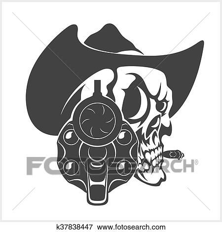 Skull In Cowboy Hat And Gun - isolated on white. k37838447 Foto search Stock  Photo Photograph Royalty Free e52a734d19ff