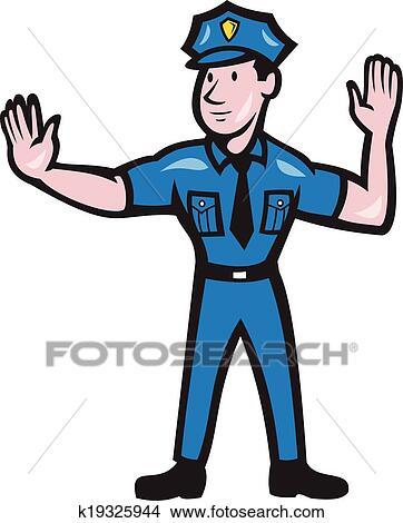 هرب الشرطي توقف إشارة اليد رسم كاريكتوري Clipart K19325944 Fotosearch
