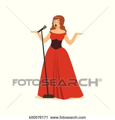美しい女性 オペラ歌手 中に ロング 赤いドレス 歌うこと で